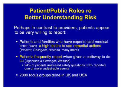 Slide 5. Patient/Public Roles re: Better Understanding Risk
