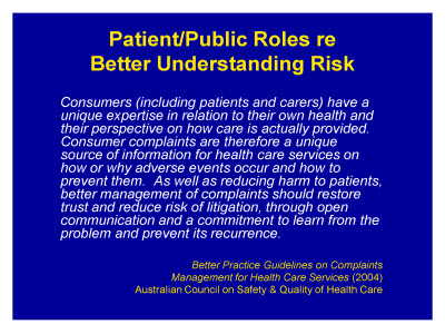 Slide 6. Patient/Public Roles re: Better Understanding Risk