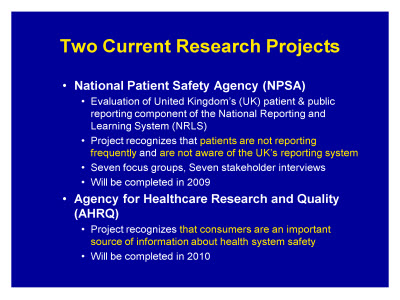 Slide 8. Two Current Research Projects