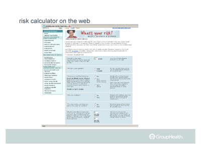 Slide 14. risk calculator on the web