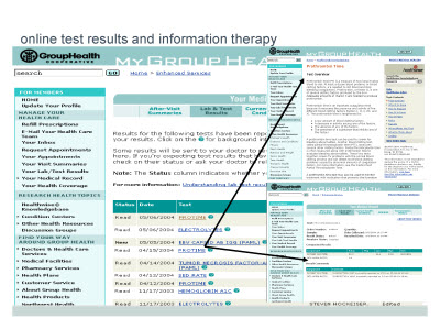Slide 8. online test results and information therapy