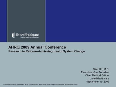 Slide 1. Research to Reform-Achieving Health System Change