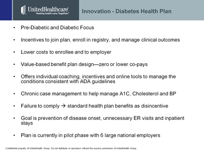 Slide 4. Innovation--Diabetes Health Plan