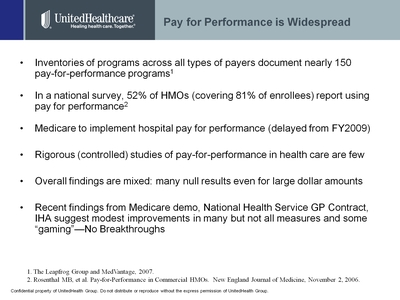 Slide 6.  Pay for Performance is Widespread