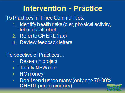 Slide 10. Intervention - Practice