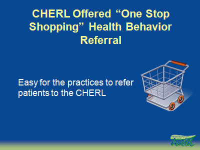 "Slide 24. CHERL Offered ""One Stop Shopping"" Health Behavior Referral"