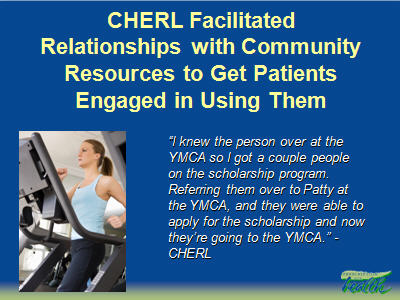 Slide 27. CHERL Facilitated Relationships with Community Resources to Get Patients Engaged in Using Them