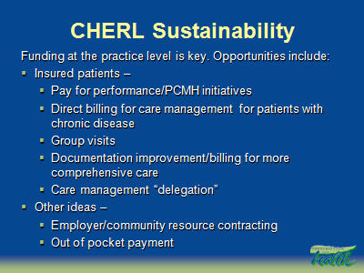 Slide 38. CHERL Sustainability