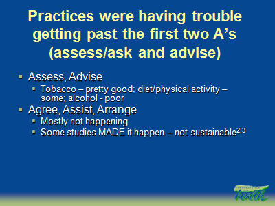 Slide 4. Practices were having trouble getting past the first two A's (assess/ask and advise)