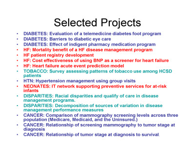 Slide 8. Selected Projects