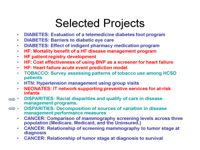Slide 9. Selected Projects