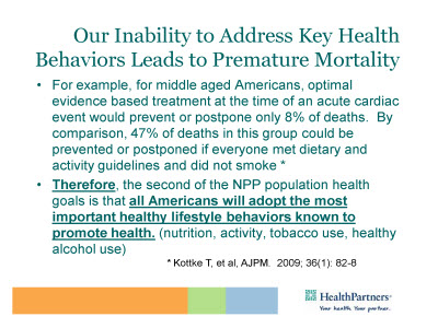 Slide 14. Our Inability to Address Key Health Behaviors Leads to Premature Mortality