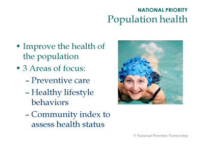 Slide 6. NATIONAL PRIORITY: Population health