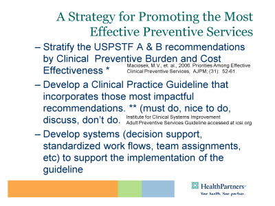 Slide 8. A Strategy for Promoting the Most Effective Preventive Services