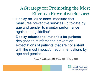 Slide 9. A Strategy for Promoting the Most Effective Preventive Services