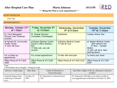 Slide 27. Image of an After Hospital Care Plan for Maria Johnson.