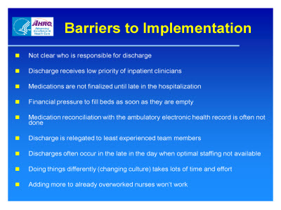 Slide 50. Barriers to Implementation