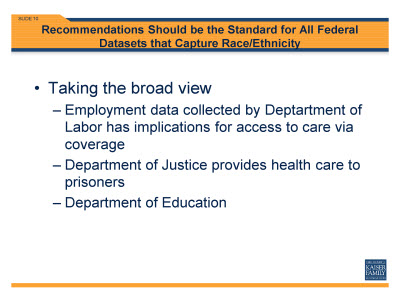 Slide 10. Recommendations Should be the Standard for All Federal Datasets that Capture Race/Ethnicity