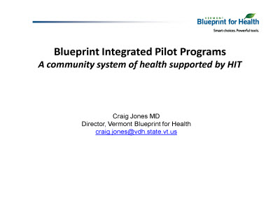 Slide 1. Blueprint Integrated Pilot Programs: A community system of health supported by HIT