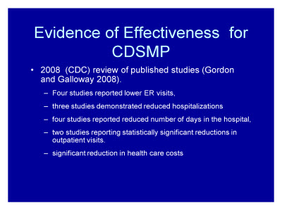 Slide 33. Evidence of Effectiveness for CDSMP