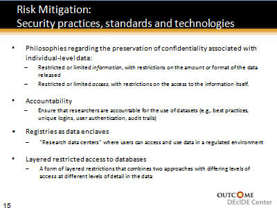 Slide 15. Risk Mitigation: Security practices, standards and technologies