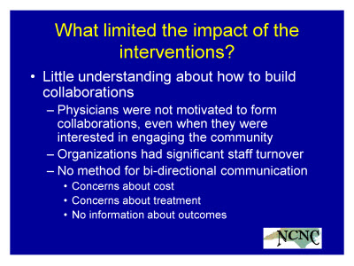 Slide 27. What limited the impact of the interventions?