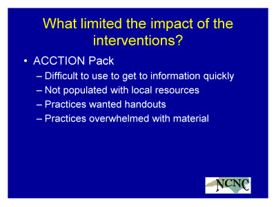 Slide 28. What limited the impact of the interventions?