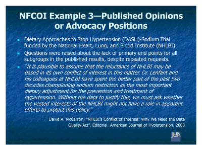 Slide 10. NFCOI Example 3-Published Opinions or Advocacy Positions