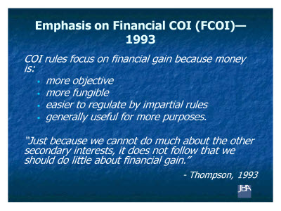 Slide 4. Emphasis on Financial COI (FCOI)-1993