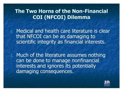 Slide 5. The Two Horns of the Non-Financial COI (NFCOI) Dilemma