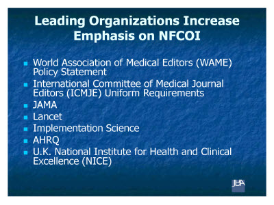 Slide 6. Leading Organizations Increase Emphasis on NFCOI