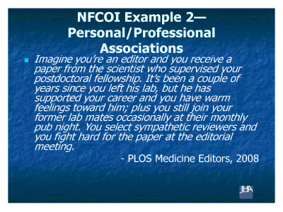Slide 9. NFCOI Example 2-Personal/Professional Associations