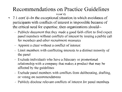 Slide 13. Recommendations on Practice Guidelines (cont'd)