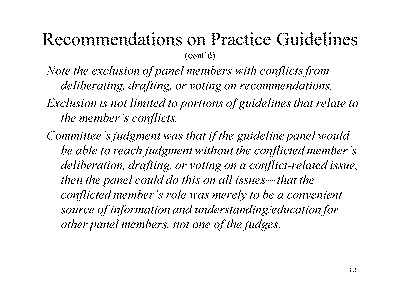 Slide 14. Recommendations on Practice Guidelines (cont'd)