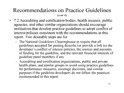 Slide 16. Recommendations on Practice Guidelines (cont'd)