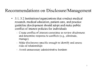 Slide 7. Recommendations on Disclosure/Management