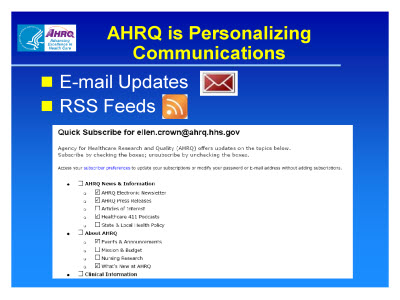 Slide 37. AHRQ is Personalizing Communications