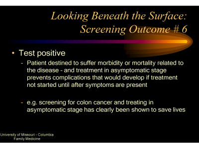 Slide 22. Looking Beneath the Surface: Screening Outcome #6