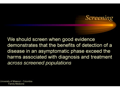 Slide 43. Screening