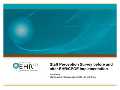Slide 1. Staff Perception Survey before and after EHR/CPOE Implementation