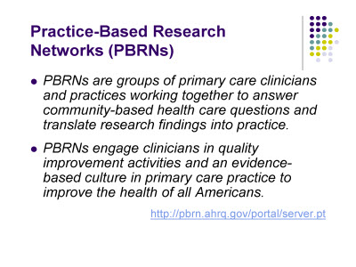 Slide 6. Practice-Based Research Networks (PBRNs)