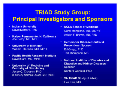 Slide 6. TRIAD Study Group: Principal Investigators and Sponsors