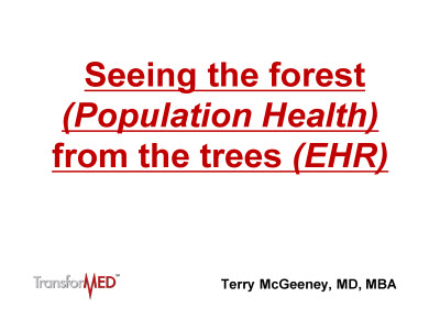 Slide 1. Seeing the forest (Population Health) from the trees (EHR)