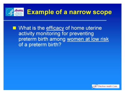Slide 18. Example of a narrow scope