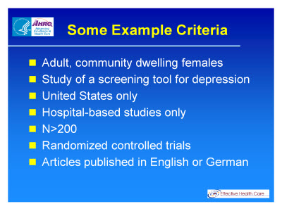 Slide 6. Some Example Criteria