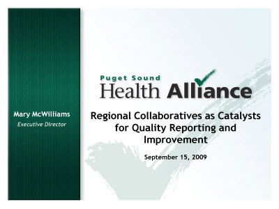 Slide 1. Regional Collaboratives as Catalysts for Quality Reporting and Improvement