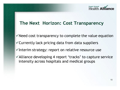 Slide 11. The Next Horizon: Cost Transparency