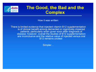 Slide 10. The Good, the Bad and the Complex
