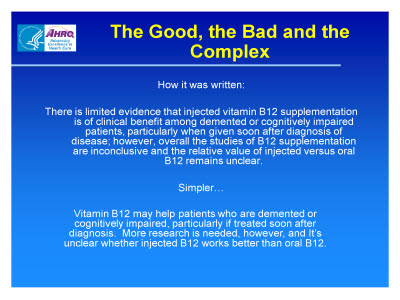 Slide 11. The Good, the Bad and the Complex