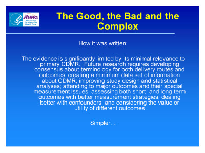 Slide 12. The Good, the Bad and the Complex